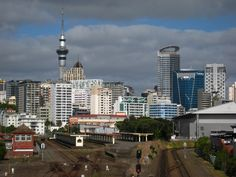 Auckland city skyline as seen from the Fred Ambler Lookout Park in the Parnell suburb of Auckland, New Zealand.