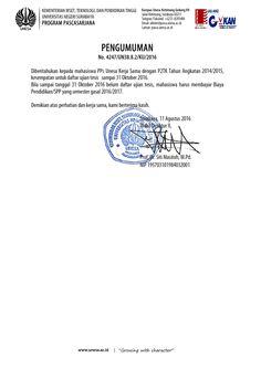PENGUMUMAN UNTUK MAHASISWA KERJA SAMA DENGAN P2TK TAHUN ANGKATAN 2014/2015