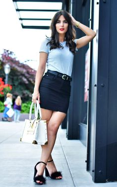 Striped Shirt, Denim Skirt, and Furry Heels