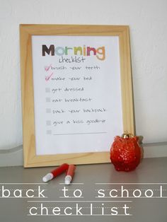lets make this Collins Love thi. Morning and Bedtime Routine Charts.framed chart and little one can check off using dry erasor marker. Need to find a way to add photos and this may work for Atticus! Morning Routine Checklist, School Checklist, Adhd Checklist, Daily Checklist, Chores For Kids, Activities For Kids, Bedtime Routine Chart, School Routines, School Organization
