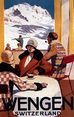Details about Wengen Switzerland Coffee Tourism Alps Ski Winter Sport Vintage Poster FREE S / H - Старые плакаты - Wengen Switzerland, Switzerland Tourism, Ski Magazine, Room Posters, Art Posters, Travel Ads, Sale Poster, Vintage Travel Posters, Winter Sports