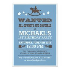 Blue Wanted Western Cowboy Birthday Invitation