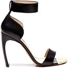 31a1cab625822 Nicholas Kirkwood Curved Heel Leather Ankle-Strap Sandals Black High Heel  Sandals