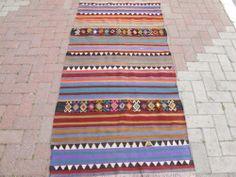 "Turkish Handwoven Striped Kilim Natural Wool Rug Carpet 71 6""x36 2""   eBay"