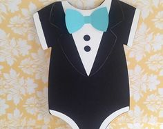 Little Man Onesie Invitations: Tuxedo style folded cards with