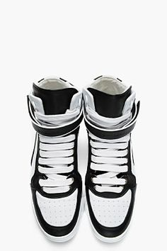 GIVENCHY Black & white leather high-top sneakers