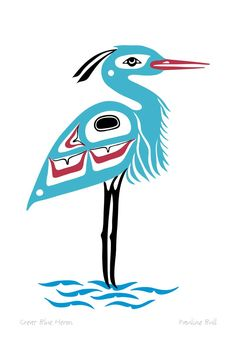 Great Blue Heron by Pauline Michele Bull(an Interior Salish native, and is a band member of Seton Lake, BC, Lillooet nation). Woodcut Art, Atelier D Art, Animal Symbolism, Native American Symbols, Haida Art, Bird Quilt, Spirited Art, Nativity Crafts, Alaska