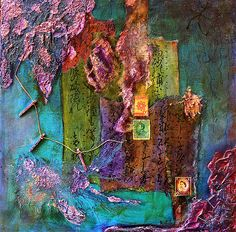 Purple Prose - Mixed Media on Canvas by Rebecca Cook