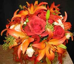 Red and orange bouquet..for a fall or summer wedding
