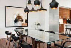 hängeleuchten design matt schwarz über esstisch glasplatte