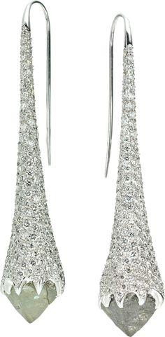 Iceberg drop diamond earrings (diamonds in the rough)