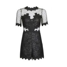 TopShop Coated Lace Playsuit (385 TND) ❤ liked on Polyvore featuring jumpsuits, rompers, black, long-sleeve rompers, party rompers, lace romper, topshop rompers and topshop romper