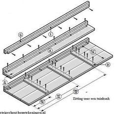 Bouwtekening voor een tuinbank zitting van steigerhout.
