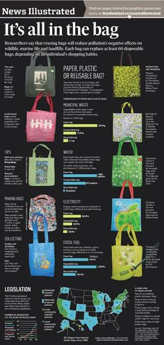 Reusing Bags > Reduce Pollution's Negative Effects on Wildlife, Marine Life and Landfills...