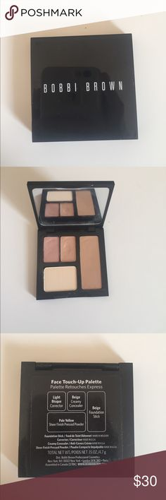Bobbi Brown Face Touch-Up Palette Comes with Corrector in Light Bisque, Creamy Concealer in Beige, Foundation Stick in Beige, and Sheer Finish Presses Powder in Pale Yellow.     *Only used once* Bobbi Brown Makeup Concealer