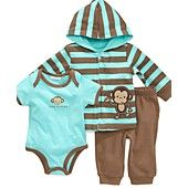 First Impressions Baby Set, Baby Boys Monkey Bodysuit, Hoodie and Pants