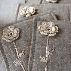 linen coasters with crochet flowers