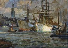 Aus dem Hamburger Hafen - AK nach einem Original-Gemälde von P. E. Gabel