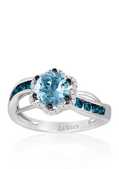 Le Vian® 14k Vanilla Gold® Sea Blue Aquamarine®, Blueberry Diamond®, and Vanilla Diamond® Ring