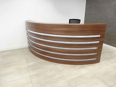 Contemporary modern (used) reception desk - lovely. There's more from this client - click the photo Used Reception Desk, Reception Areas, Second Hand Desks, Used Office Furniture, Two Hands, Modern Contemporary