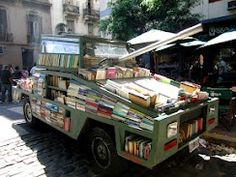 "Raul Lemesoff's ""Weapon of Mass Instruction"" delivering free books throughout Buenos Aires, Argentina: http://www.good.is/post/people-are-awesome-meet-the-book-tank-a-weapon-of-mass-instruction/"