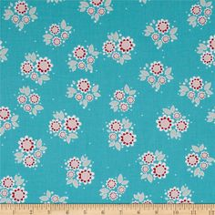 Riley Blake Twice as Nice Petals Blue from @fabricdotcom  Designed by The Quilted Fish for Riley Blake Designs, this cotton fabric is perfect for quilting, apparel and home decor accents. Colors include red, khaki, white, blue, pink and cream.