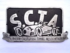 SCTA car club plaque hot rod drag race Kustom Kulture metal bonneville lakester