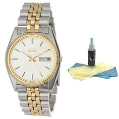 Seiko SGF204 Men's Day Date Quartz Dress Two Tone Watch with 30ml Ultimate Watch Cleaning Kit