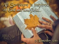 All scripture is inspired my God and beneficial. 2 Timothy 3:16