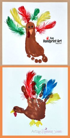 Creative Footprint Turkey Craft with Feathers for Thanksgiving Keepsake - Thanksgiving crafts - Toddler Art, Toddler Crafts, Crafts With Toddlers, November Crafts, Thanksgiving Crafts For Kids, Thanksgiving Turkey, Happy Thanksgiving, Kids Holiday Crafts, Crafts For 2 Year Olds