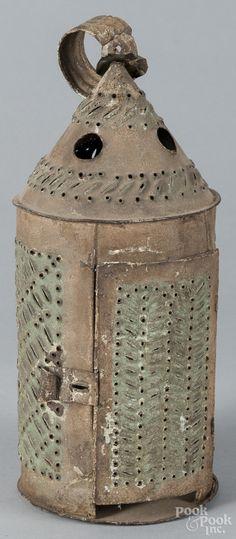 Pierced tin lantern, original green paint