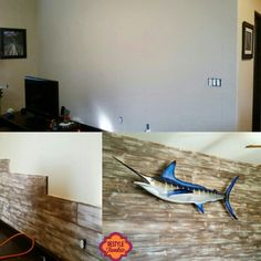 This is how you hang a blue marlin fish! Distressed barnwood feature wall made from brand new pine.  www.restylejunkie.com
