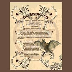 BAT MYTHOLOGY, Digital Download, Book of Shadows Page, Grimoire, Scrapbook, Spells, Wiccan, Witchcraft,