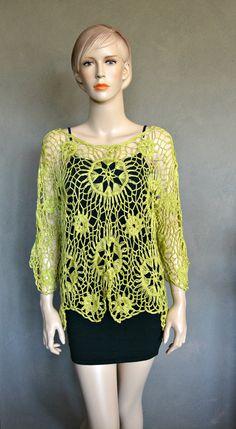 Lemon Green Harpin Lace Tunic by CasadeAngelaCrochet on Etsy