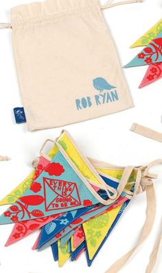 Fabulous cloth bunting by Rob Ryan (printed in eco-friendly unbleached cotton) - 5m