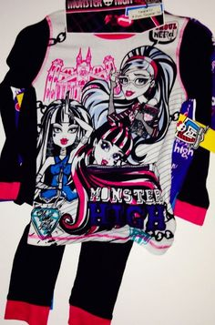 MONSTER HIGH GIRLS PAJAMAS SET NEW with 2 Pairs  with tags SIZE 8 New Style #PajamaSet