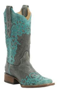 Corral Women's Distressed Black with Turquoise Laser Overlay Snip Toe Western Boots | Cavender's