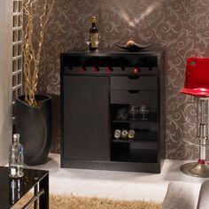 Furniture of America Keman Black Multi-Storage Dining Buffet - Overstock™ Shopping - Big Discounts on Furniture of America Buffets Home Bar Cabinet, Low Cabinet, Liquor Cabinet, Sideboard Modern, Wine Rack Storage, Dining Buffet, Wine Cabinets, Black Kitchens, Cool Rooms