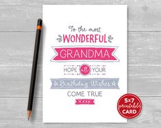 Printable Birthday Card For Grandma To The by TheLittleRedCherry