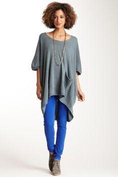 Love Stitch Pocket Front Dolman Short Sleeve Sweater