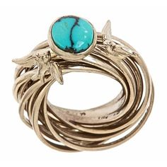 Engagement nest ring by Jennifer Yi Jewelry - Kingman Mine Turquoise in 18k palladium white gold