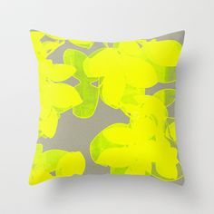 Joy  Throw Pillow by Garima Dhawan - $20.00 Bright yellow splashes on grey background