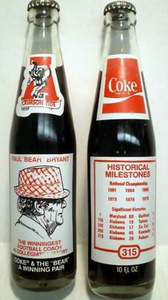 Vintage Coca Cola Commemorative Bottle  - Coke and the Bear, A winning pair - 1979 Alabama Bear Bryant Coke PD