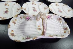 French Antique Limoges Asparagus Server with 6 Matching Plates