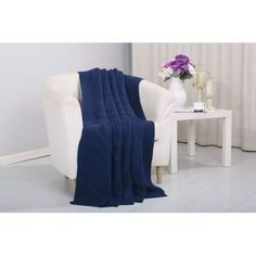 Pietra Knitted Throw Couch Cover Sofa Blanket, 50x60, Navy - Walmart.com