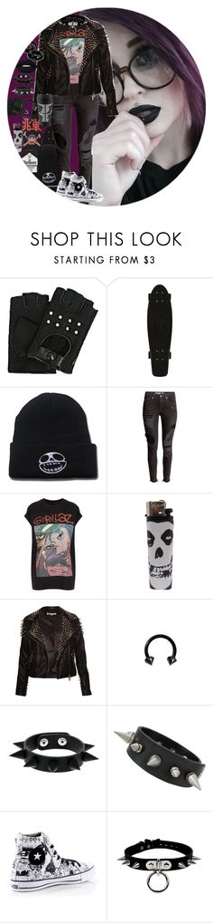"""Punk -Gorillaz"" by chemicalfallout249 on Polyvore featuring Karl Lagerfeld, H&M, And Finally, Converse and Lime Crime"