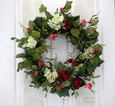 Afternoon Soiree Red Roses and Creamy Hydrangeas Silk Floral Wreath for Front Door Indoor Outdoor Summer Decor Autumn Wreaths For Front Door, Summer Door Wreaths, Christmas Door Wreaths, Holiday Wreaths, Spring Wreaths, Fall Door, Christmas Stuff, Christmas Ideas, Christmas Decorations