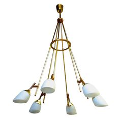 Stilnovo Awesome Rare 6 Light Long Chandelier In Gold Brass And Opaline Organic Shade 1950s - 1960s