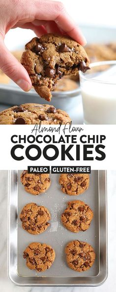 Say hello to the best chocolate chip cookies on the internet! These ooey-gooey healthy almond flour chocolate chip cookies are naturally sweetened and grain-free. And guess what? They don't taste healthy! Healthy Dessert Recipes, Healthy Baking, Easy Desserts, Baking Recipes, Paleo Cookie Recipe, Paleo Cookies, Candida Recipes, Primal Recipes, Free Recipes
