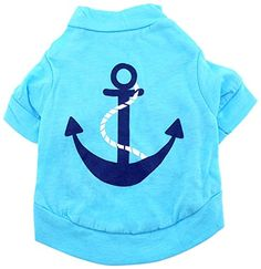 smalllee_lucky_store Anchor Shirt for Small Dogs, Large, Blue * You can find more details by visiting the image link.
